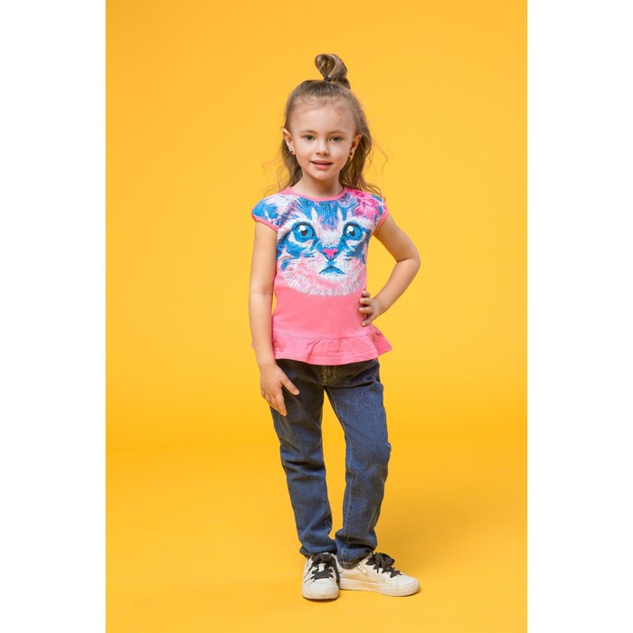 Футболка для девочек, рост 104-110 см, возраст 4 года, цвет ярко-розовый