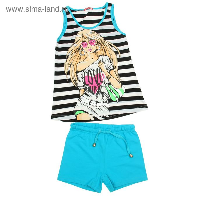 Комплект для девочек (майка+шорты), рост 128-134 см, возраст 8 лет, цвет белый в чёрную полоску (арт. GAVH481)