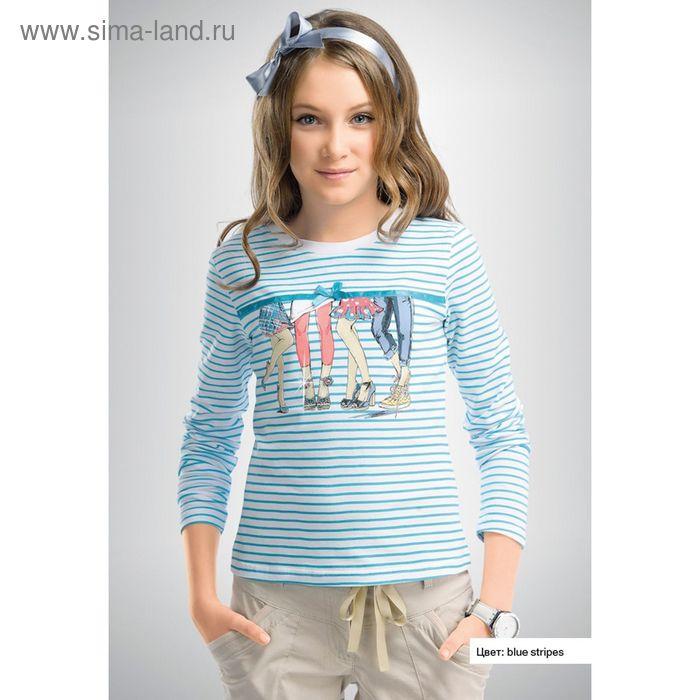 Джемпер для девочек, рост 128-134 см, возраст 8 лет, цвет белый в голубую полоску (арт. GJR453)