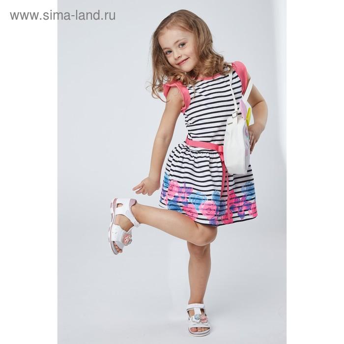 Платье для девочек, рост 86-92 см, возраст 1 год, цвет белый в чёрную полоску (арт. GDT377)
