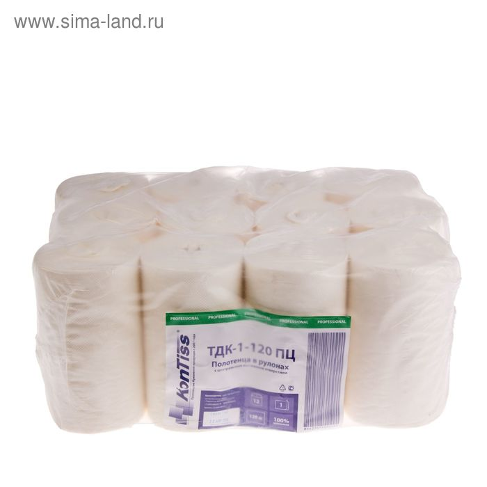 Полотенца с центральнй вытяжкой в рулонах, 1 слойные, 120 метров, белые