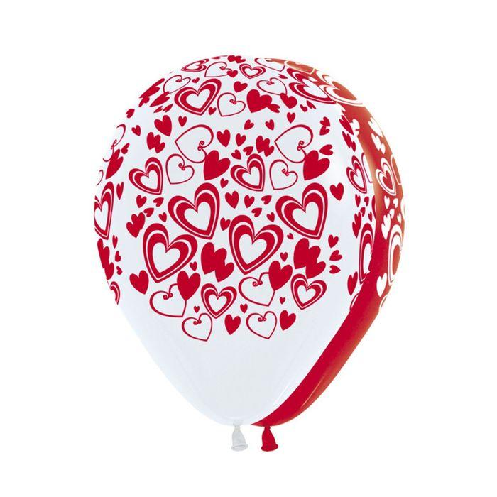 """Шар латексный 12"""" """"Кокетливые сердечки"""", 5-сторонний рисунок, пастель, набор 50 шт., цвет МИКС - фото 147497159"""