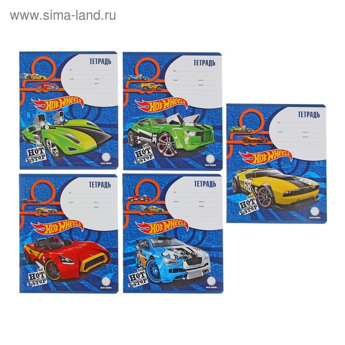 Тетрадь 12 листов косая линейка Hot Wheels Super Car, картонная обложка, МИКС, EK 39557