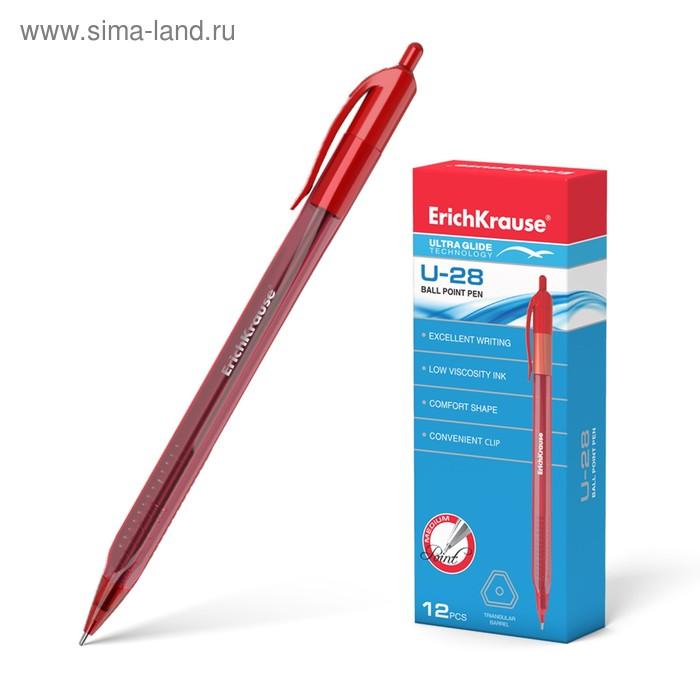 Ручка шариковая автомат Erich Krause Ultra Glide Technology U-28, чернила красные, узел 1.0 мм, EK 33530
