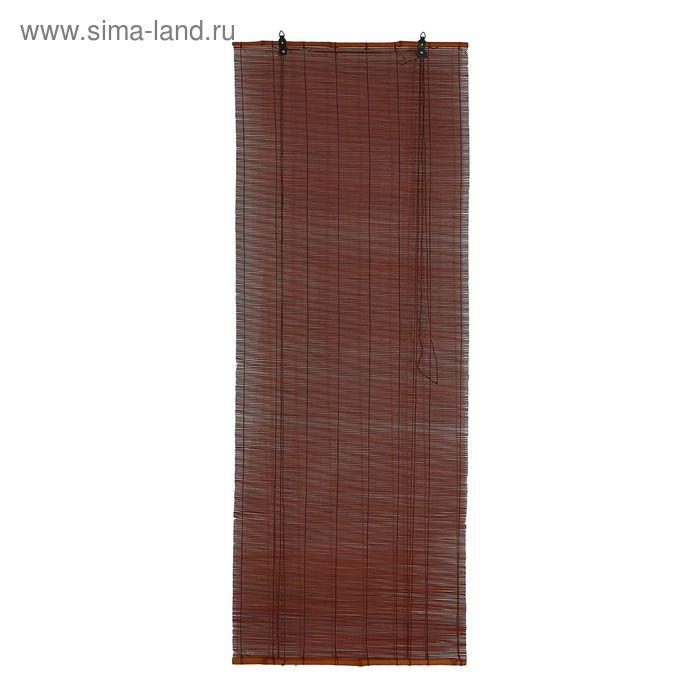 """Штора рулонная бамбуковая 160 х 160 см """"Осака"""", цвет венге"""