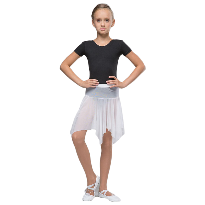 Юбка-сетка гимнастическая на кокетке с фигурным низом, размер 36, цвет белый