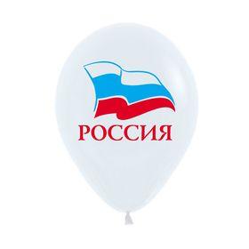 """Шары латексные 12"""" «Россия», 2-сторонний рисунок, пастель, набор 50 шт., цвет белый в Донецке"""