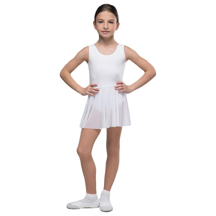 """Костюм гимнастический """"Репетиция"""", на лямке, юбка-сетка, размер 38, цвет белый"""