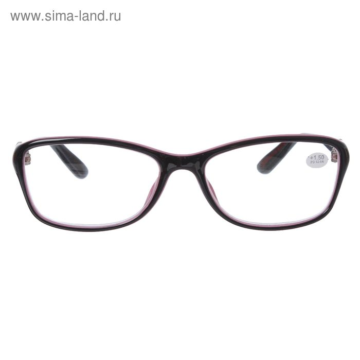 "Очки ""Бабочки"", пластик, цвет чёрно-розовый, +1,5 дптр, 62-64мм"