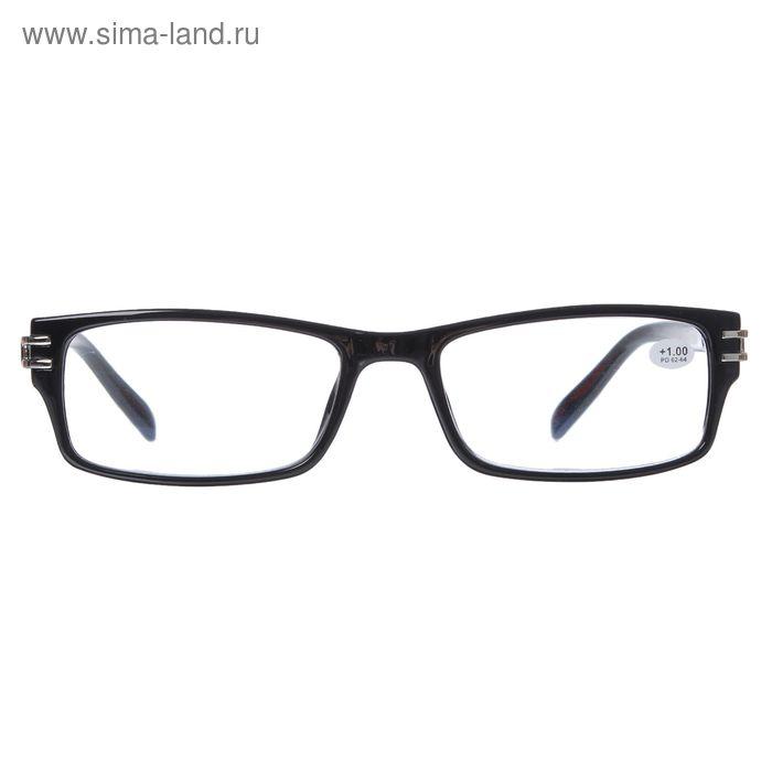 """Очки """"Прямоугольные"""" компьютерные, пластик, цвет чёрный, +1 дптр, 62-64мм"""