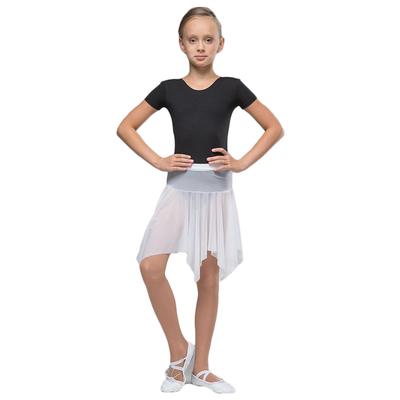 Юбка-сетка гимнастическая на кокетке с фигурным низом, размер 28, цвет белый