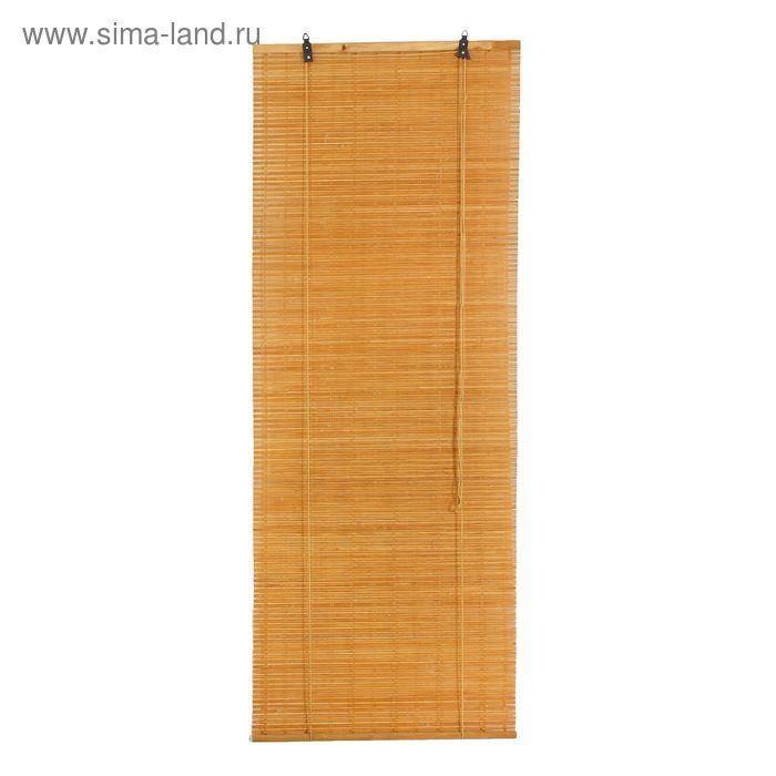 """Штора рулонная бамбуковая 60 х160 см """"Кабуки"""", цвет светлый дуб"""