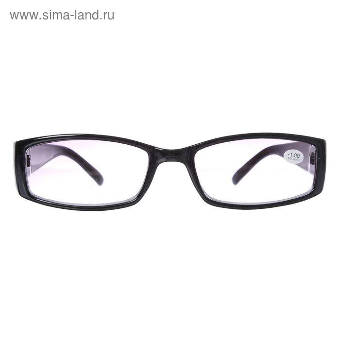 """Очки """"Прямоугольные"""", пластик, цвет чёрный, линза тонированная, -1 дптр, 62-64мм"""