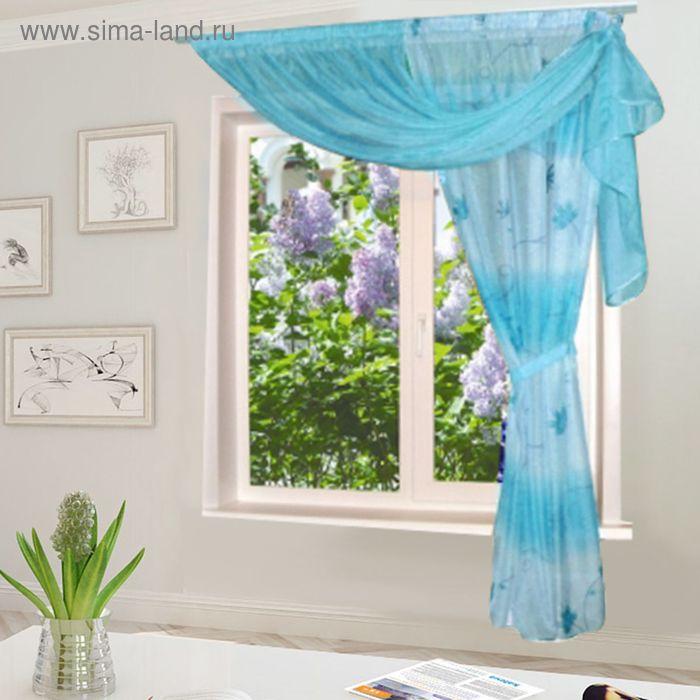 """Штора для кухни """"Эрика"""" со шторной лентой, ширина 300 см, высота 200 см, цвет голубой, принт микс"""