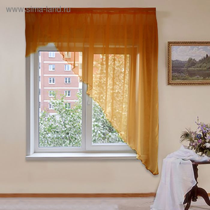 """Штора для кухни """"Солнышко"""" со шторной лентой, ширина 300 см, высота 180 см, цвет бежевый"""