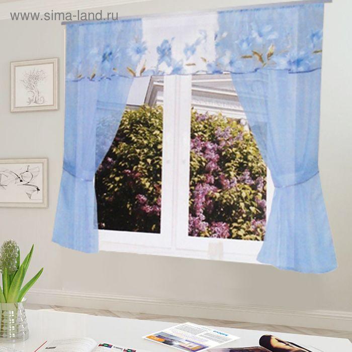 """Штора для кухни """"Домовёнок"""" со шторной лентой, ширина 300 см, высота 150 см, цвет голубой, принт микс"""
