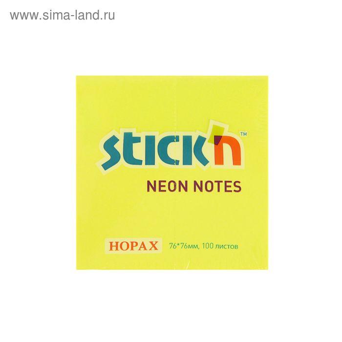 Блок с липким краем 76х76мм Hopax 100 листов 21133 Neon желтый