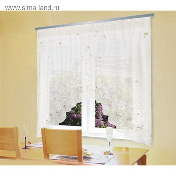 """Штора для кухни """"Арка"""" со шторной лентой, ширина 310 см, высота 180 см, цвет белый"""