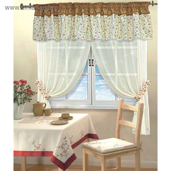 """Штора для кухни """"Мария"""", ширина 150 см, высота 180 см-2шт, ламбрекен 250х35 см, цвет бежевый, принт микс"""
