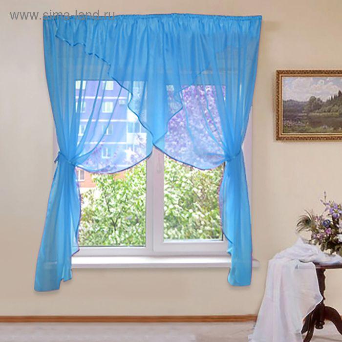 """Штора для кухни """"Флоренция"""" со шторной лентой, ширина 320 см, высота 180 см, цвет голубой"""