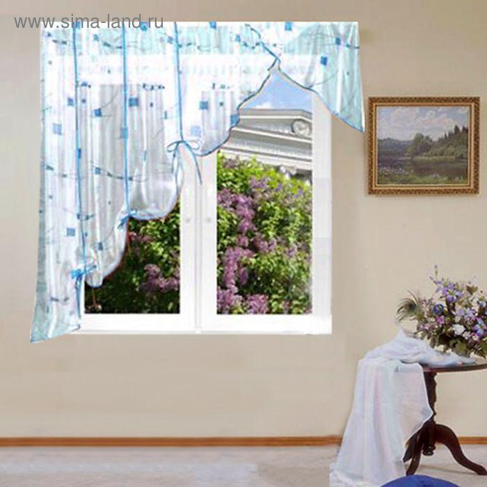 """Штора для кухни """"Айсберг"""" со шторной лентой, ширина 300 см, высота 180 см, цвет голубой, принт микс"""