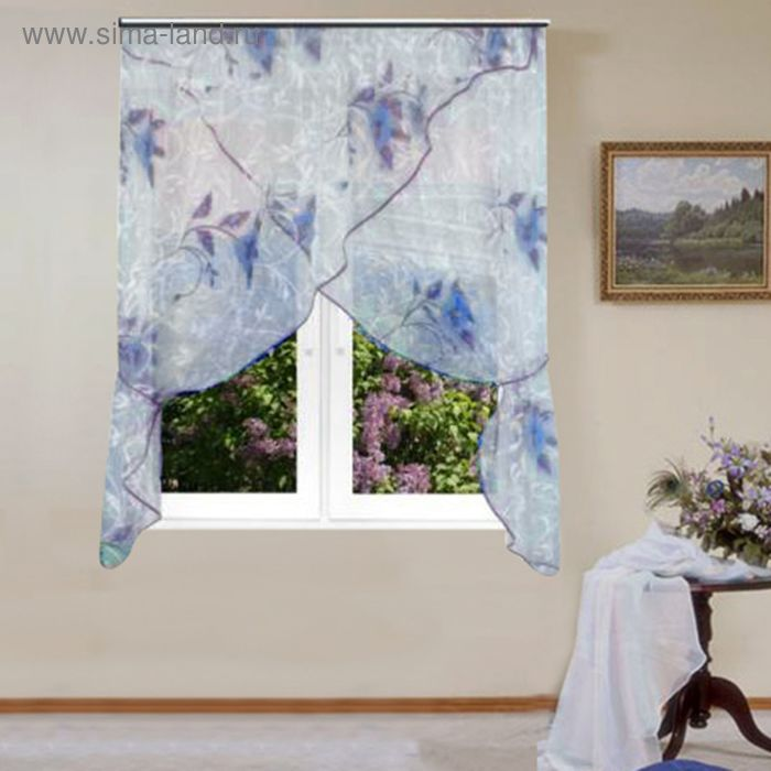 """Штора для кухни """"Флоренция"""" со шторной лентой, ширина 320 см, высота 180 см, цвет голубой, принт микс"""