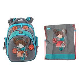 Рюкзак каркасный Hummingbird TK 37 х 32 х 18 см, мешок, для девочки, «Девочка», серый/голубой