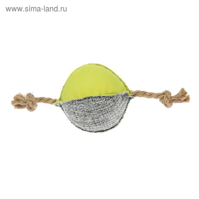 """Игрушка для собак """"Шар с веревкой"""" №2, с пищащим элементом, 19 см"""
