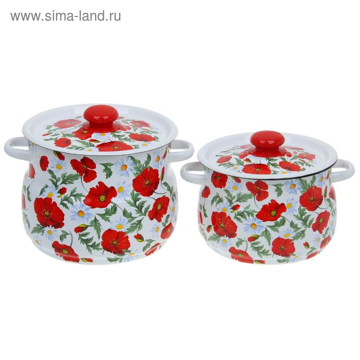 "Набор кастрюль ""Маки сибирские"", 2 предмета: 4 л, 5,5 л"