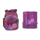 """Рюкзак каркасный Hummingbird 32*27*18 + мешок для обуви, для девочки, """"Цветы"""", фиолет/сиренев. ТК21"""
