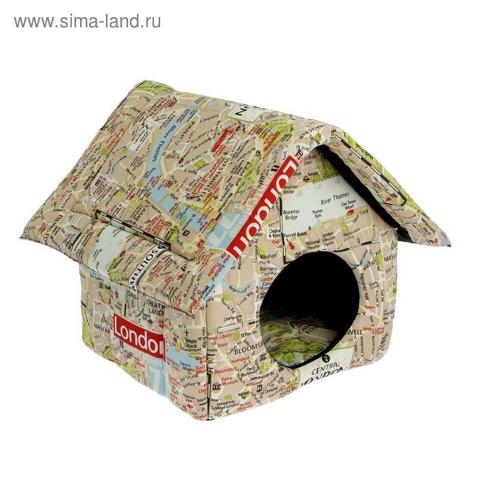 Домик для животных, с мебельной тканью, на молнии, 33 х 33 х 40 см микс цветов