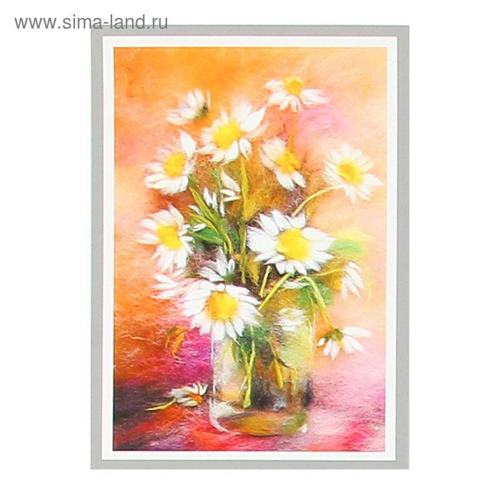 Набор для валяния (живопись цветной шерстью) 'Ромашки' 21x29,7см (А4)