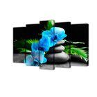 """Модульная картина на подрамнике """"Голубой цветок"""", 2 — 63×25, 2 — 71×25, 1 — 80×25, 125×80 см"""