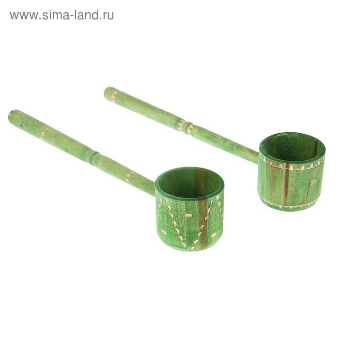 Ковш точёный-фигурный 0,3 л, крашеный резной, цвет еловая зелень