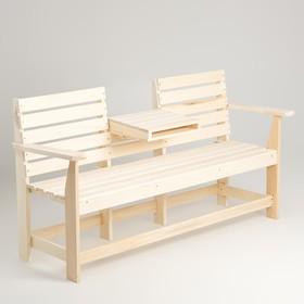 """Скамейка, 160×60×90см, из липы, с выдвижным столиком, """"Добропаровъ"""""""