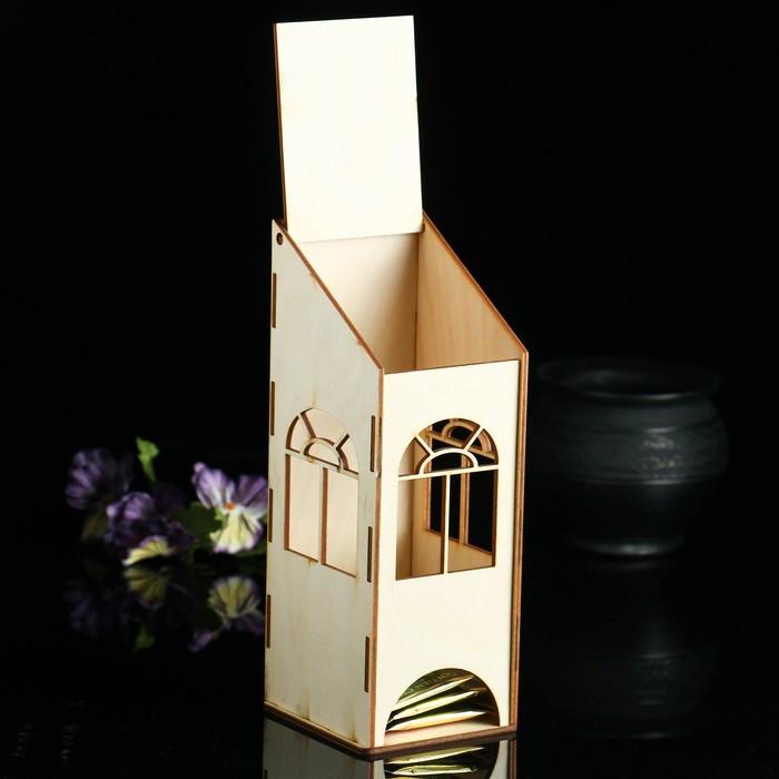 """Заготовка для декупажа """"Чайный домик с пологой крышей"""" 9 х 8 х 23 см"""