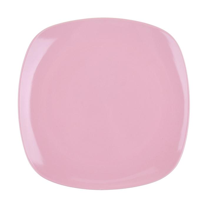 """Тарелка обеденная 26 см """"Пастель"""", квадратная, цвет розовый"""