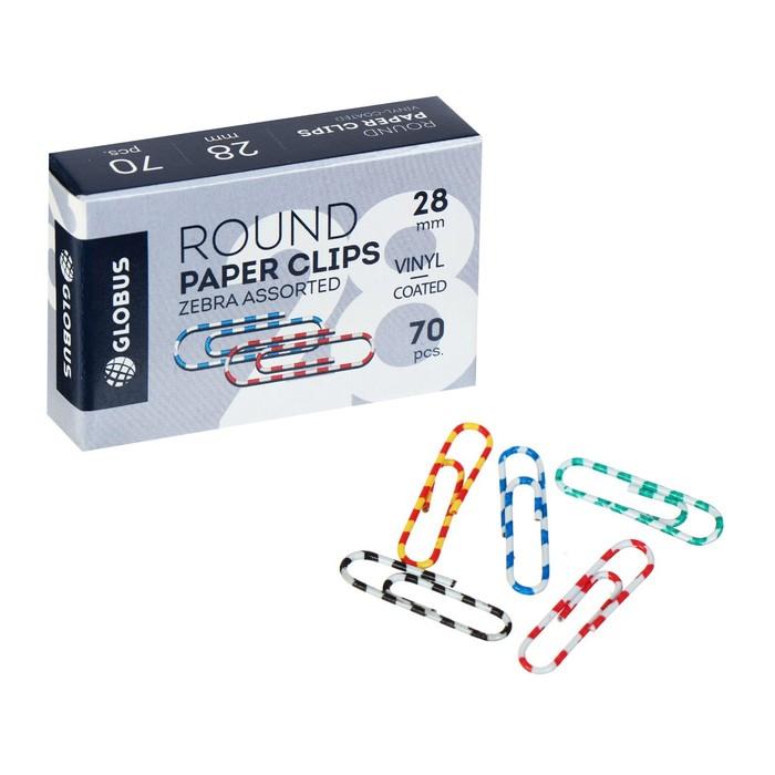 Скрепки канцелярские 28 мм цветные 70 штук GLOBUS ЗЕБРА, картонная коробка