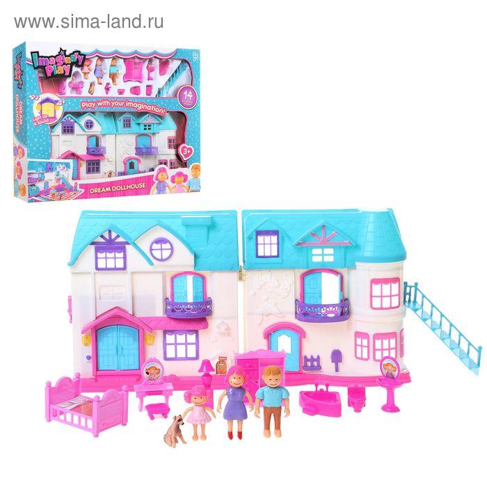 """Дом для кукол """"Весёлая семейка"""" с мебелью, лестницей, фигурками, световые и звуковые эффекты, работает от батареек"""