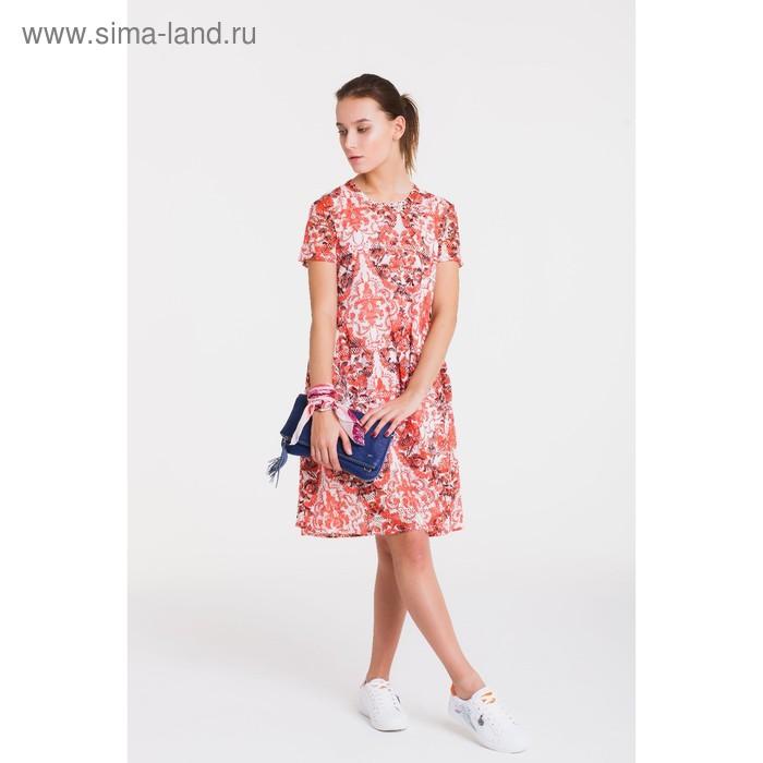 Платье, размер 46, рост 164 см, цвет кремовый/красный/чёрный (арт. 4766)