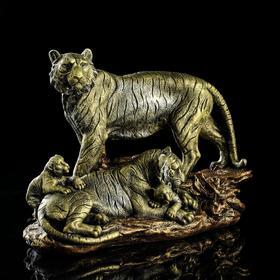 """Статуэтка """"Тигр семья"""", бронзовый цвет, 27 см"""