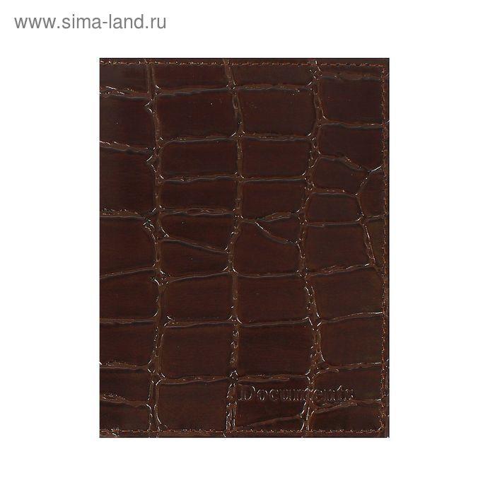 Обложка для автодокументов, коричневый скат