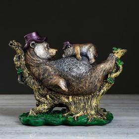 """Сувенир """"Медведь с медвежонком"""", бронзовый цвет, 24 см"""