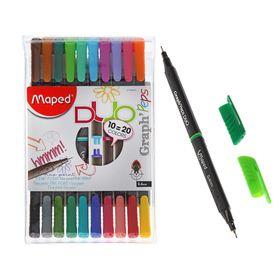 Набор ручек капиллярных, 20 цветов, 10 штук, Maped Graph Pep's Duo 0.4 мм, трёхгранный корпус