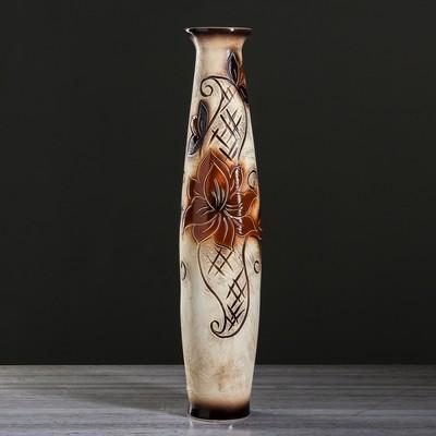 "Ваза напольная ""Лань"" цветы, под шамот, 66 см, микс"