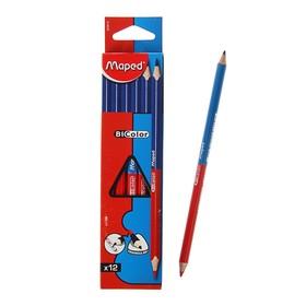 Карандаш двухцветный Maped трехгран Bicolor синий/красный, ударопрочный грифель 829615 Ош