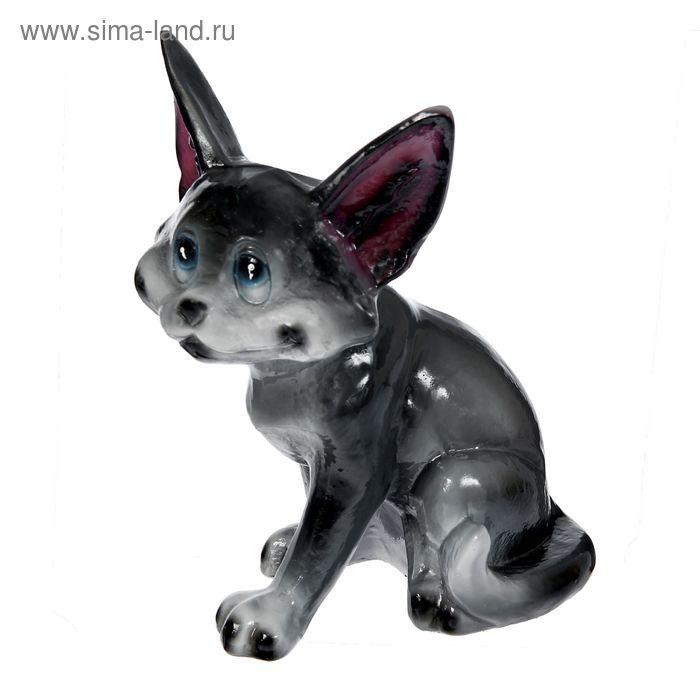 """Садовая фигура """"Серый котик"""" глянец"""