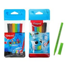 Фломастеры 6 цветов Color Peps Ocean, блокированый пишущий узел, суперсмываемые, микс