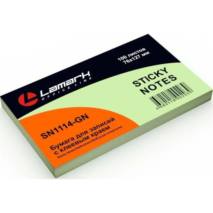 Блок с липким краем 127*76мм Lamark 100л зеленая пастель SN0114-GN