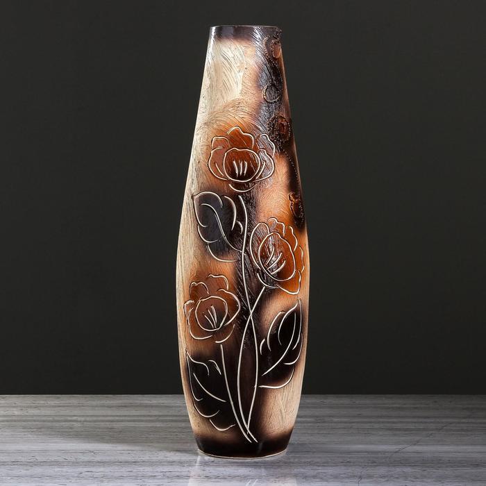 "Ваза напольная ""Катюша"" под шамот, цветы, 63 см, керамика - фото 797708945"